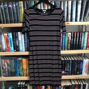 LuLaRoe Black & Pink Horizontal Stripe Julie Dress